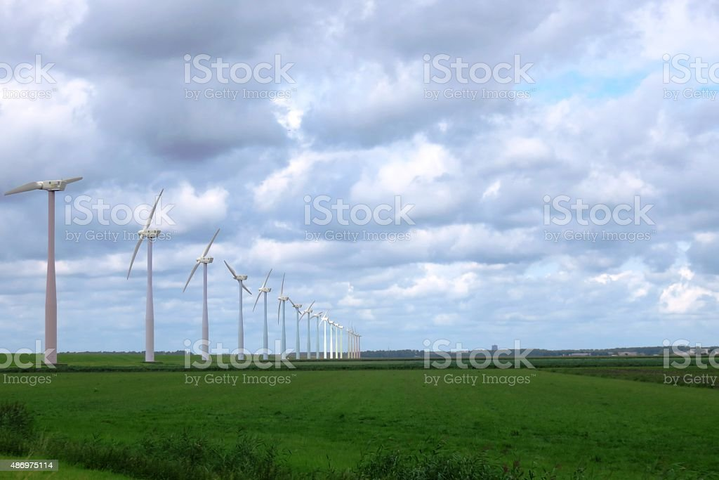 Wind power turbines, for the production of clean energy stock photo