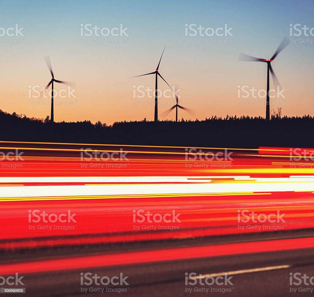 Wind Powered Highway stock photo