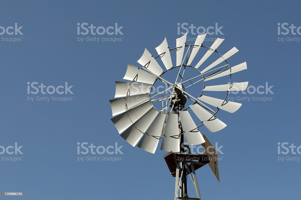 Wind powered water pump stock photo