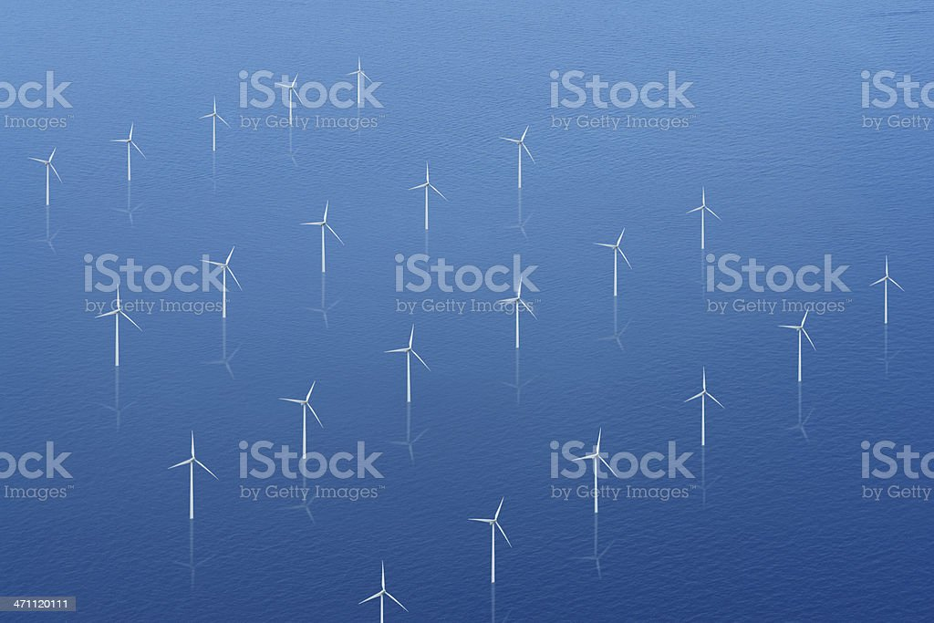 Wind Propellers on Calm Sea royalty-free stock photo