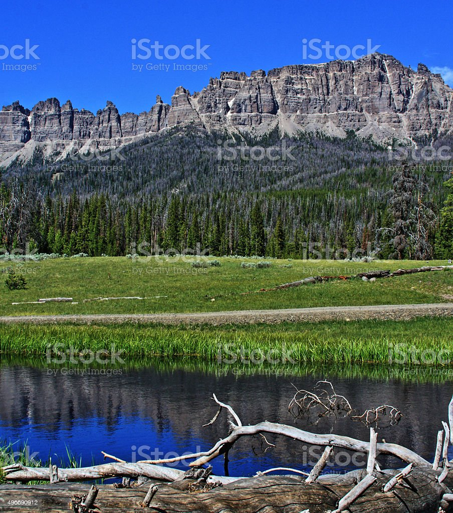 Wind River Lake on Togwotee Pass in Wyoming stock photo