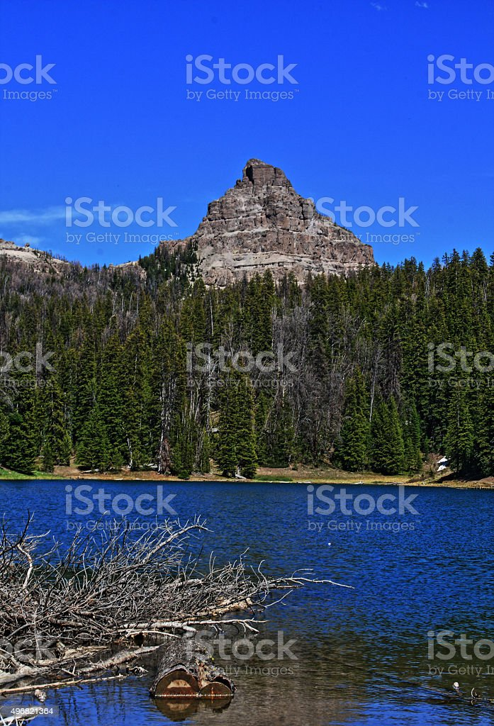 Wind River Mountain Lake on Togwotee Pass in USA stock photo