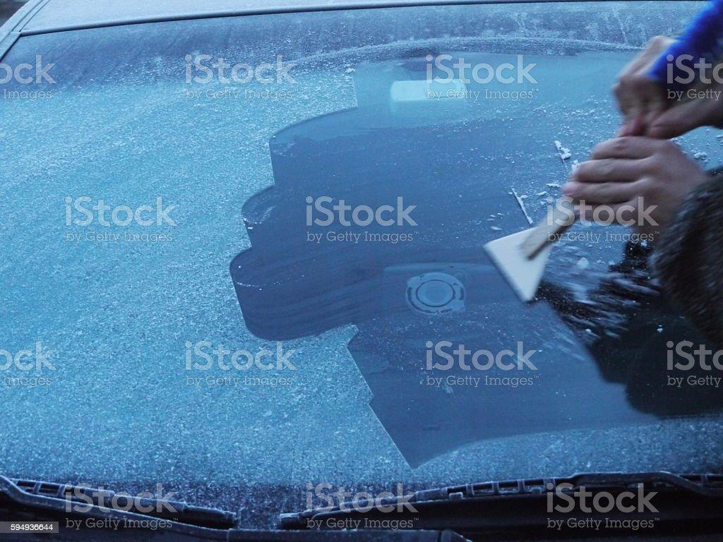 wind shield frozen stock photo