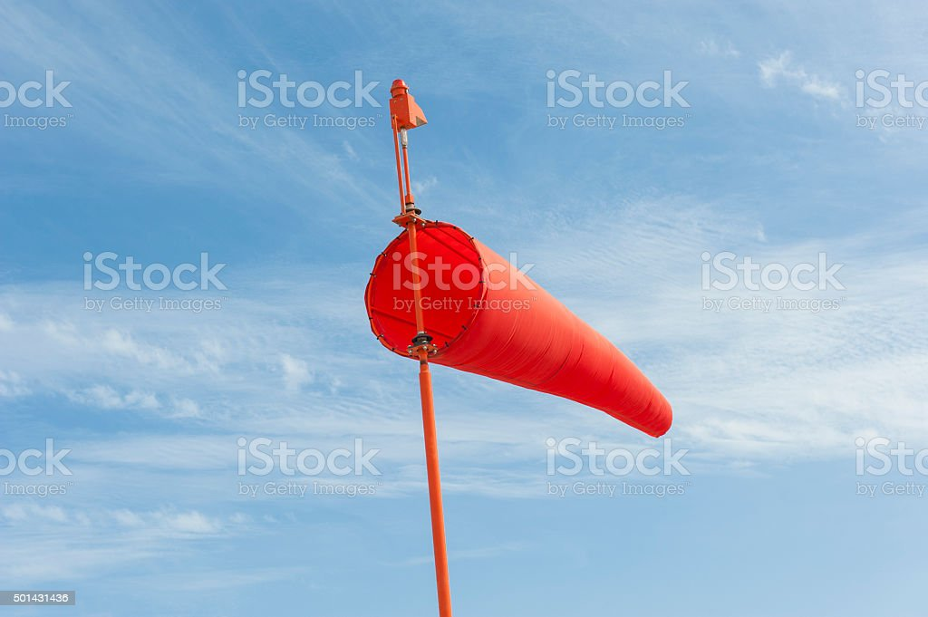 Wind sock at an airport stock photo