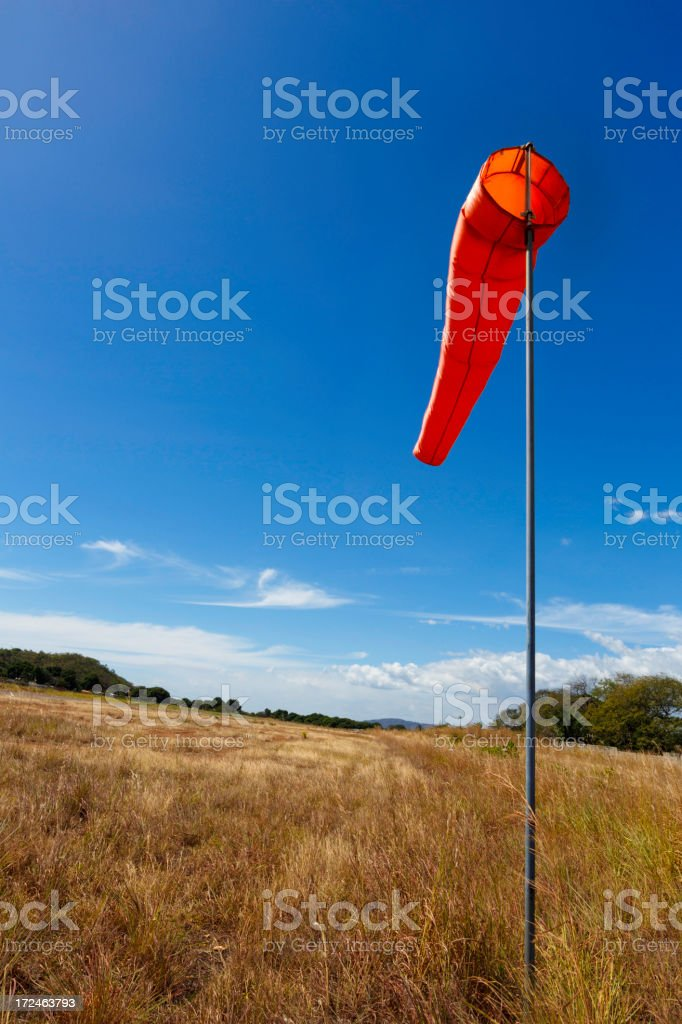 Wind sock at country airfield royalty-free stock photo