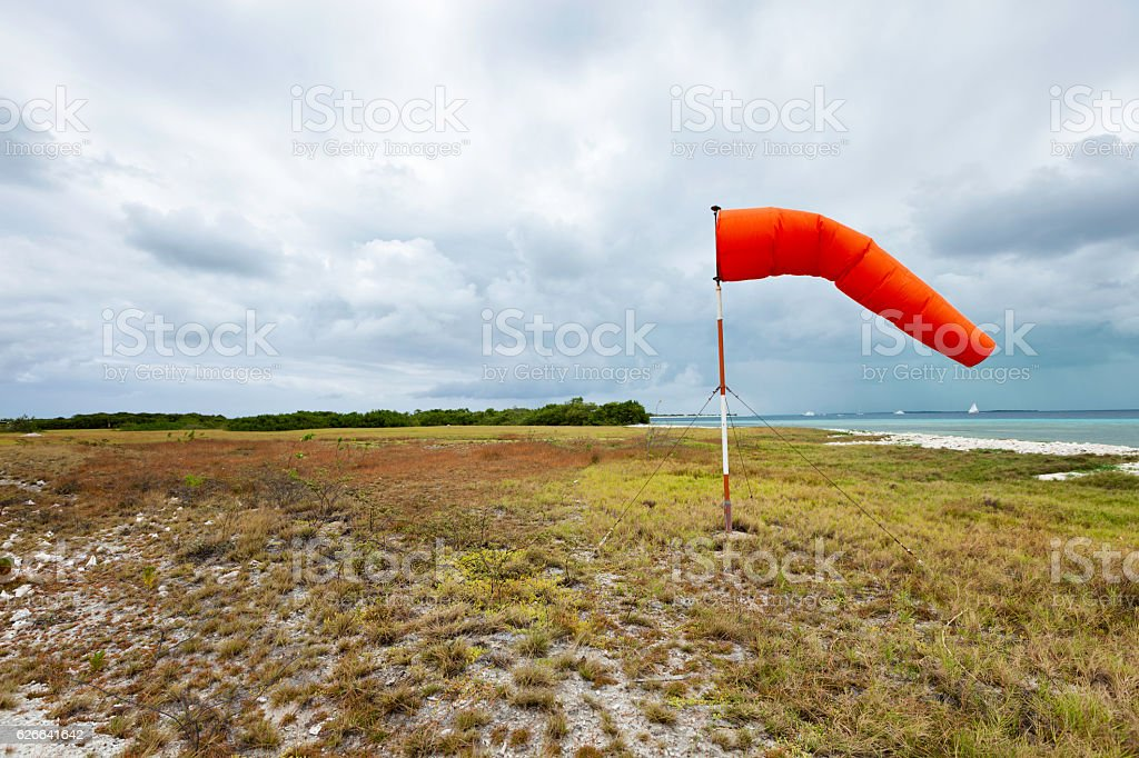 Wind sock at country airfield stock photo