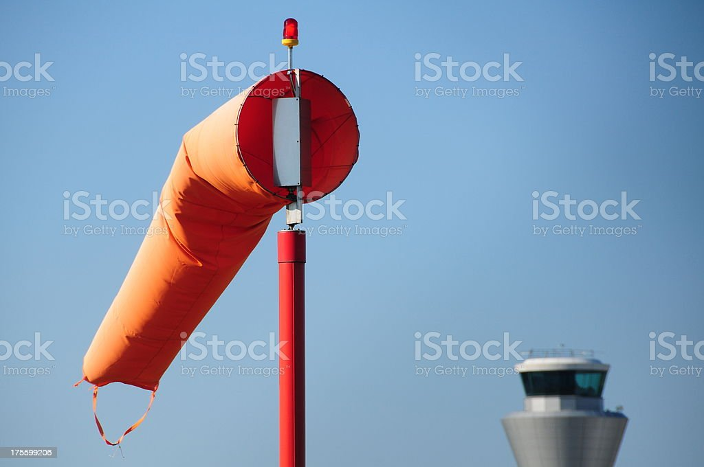Wind sock, Jersey airport. stock photo