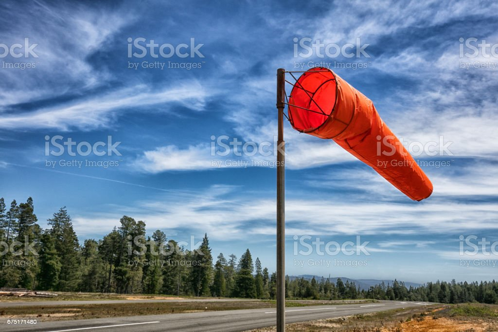 Wind Sock on rural Airport stock photo