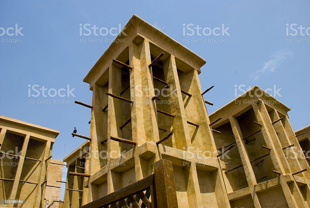 Wind towers in Bastakiya, Bur Dubai stock photo