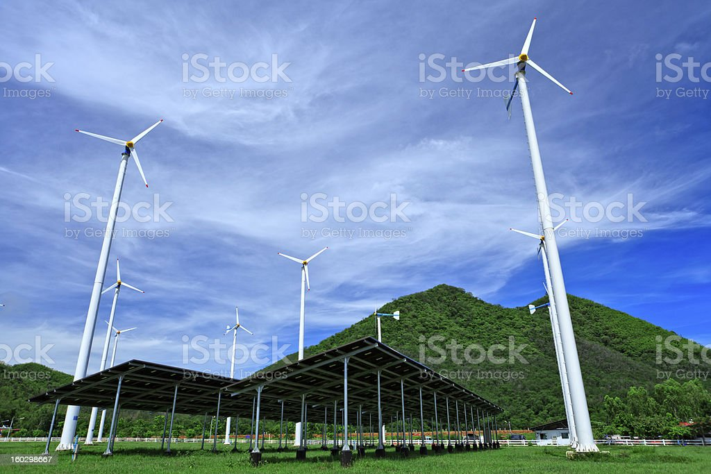 Wind tubines in farm royalty-free stock photo