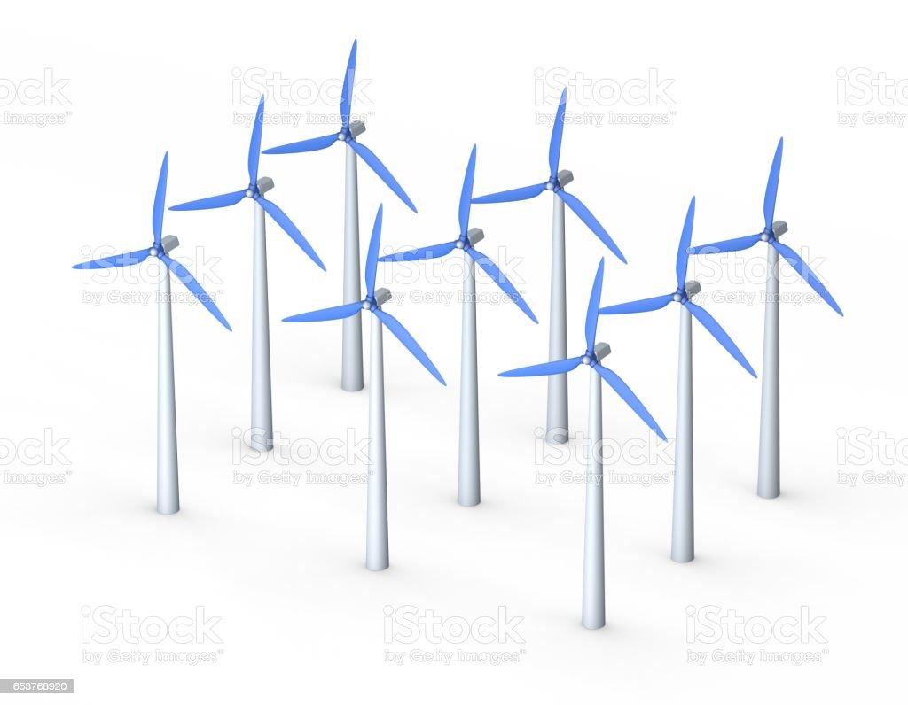 Wind turbin set.3D rendering illustration.Isometric view. stock photo