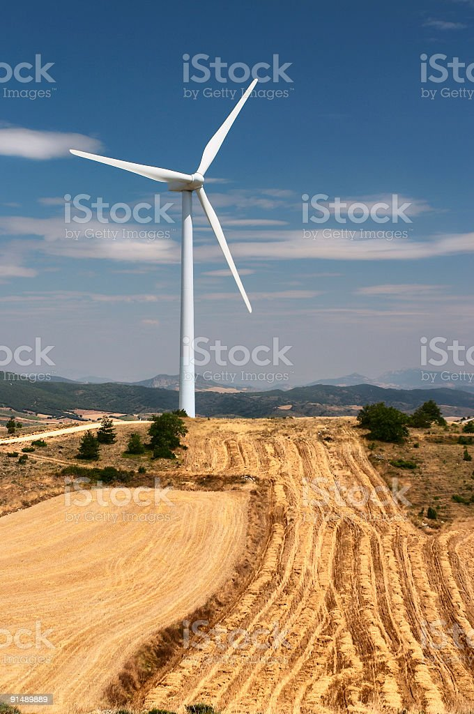 Wind turbine and fields royalty-free stock photo