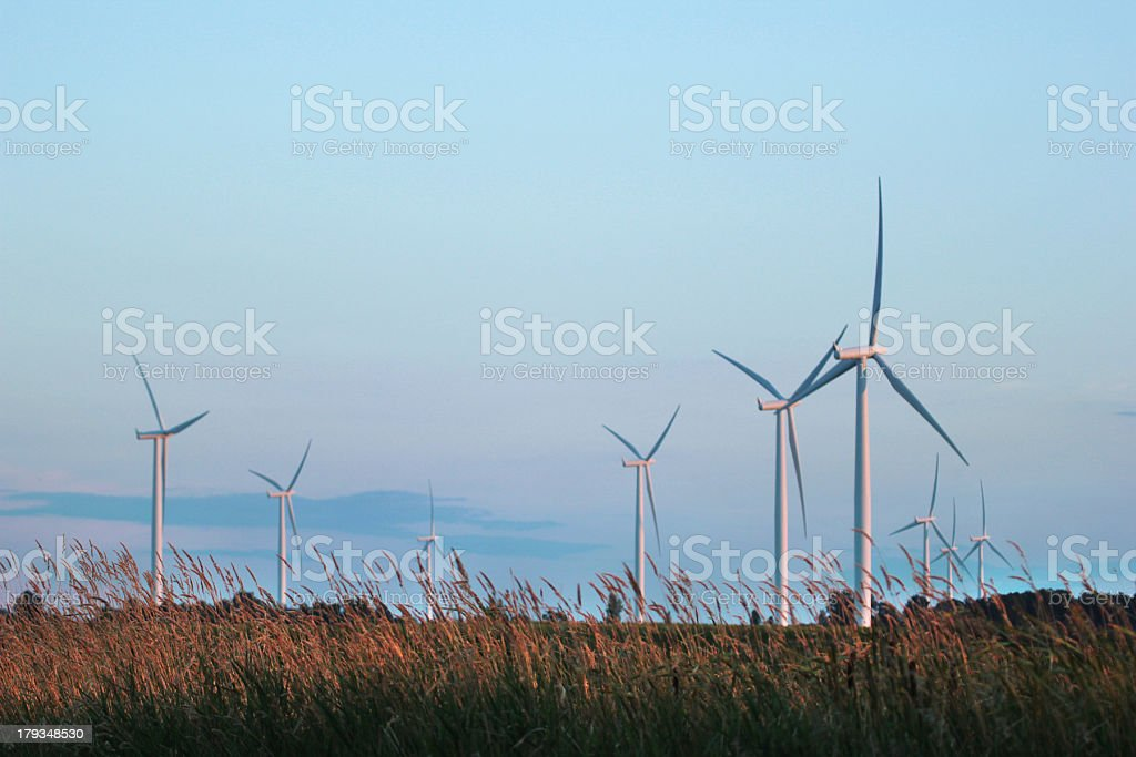 Wind Turbine and Hay Bales with Copyspace royalty-free stock photo