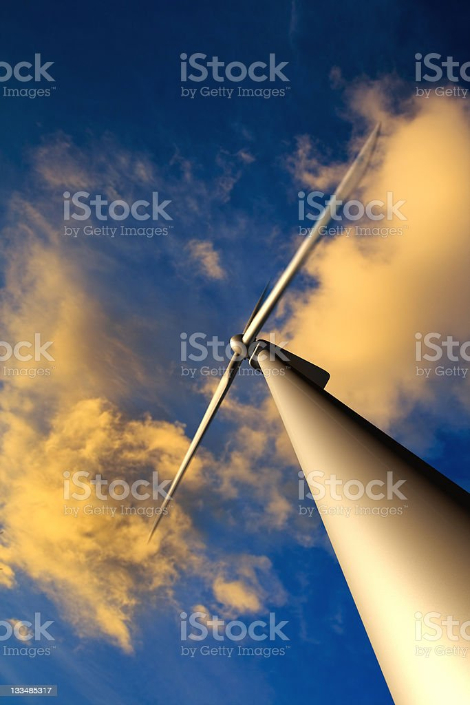 Wind Turbine at Sunset royalty-free stock photo