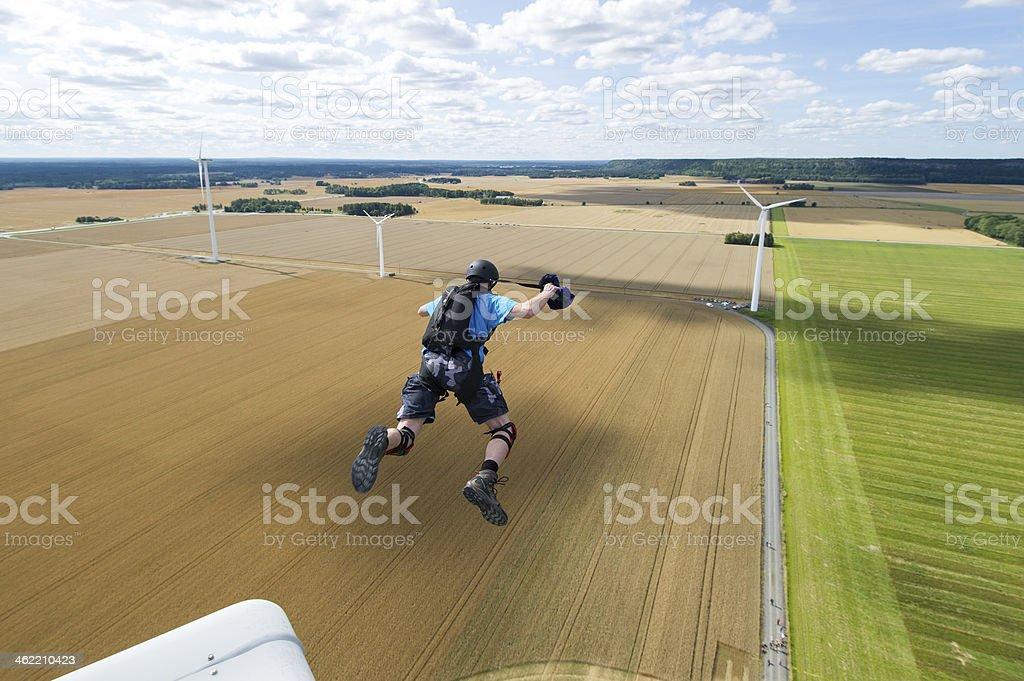 Wind turbine BASE jump royalty-free stock photo