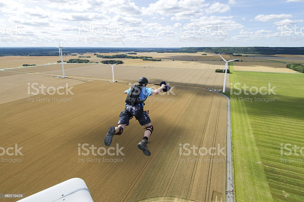 Wind turbine BASE jump stock photo