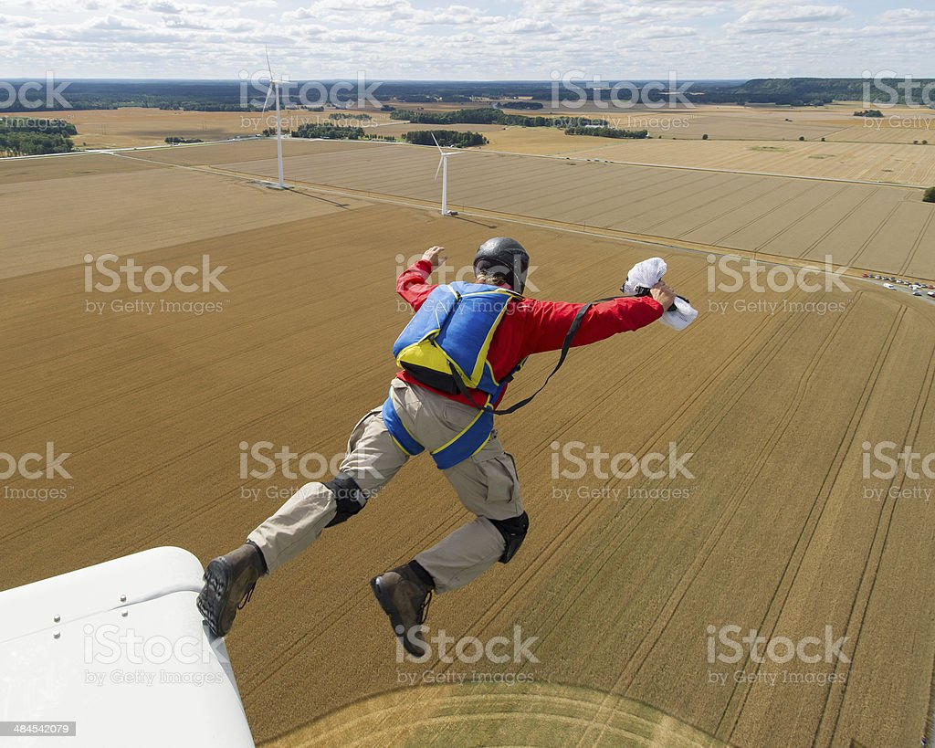Wind turbine BASE jump stock photo