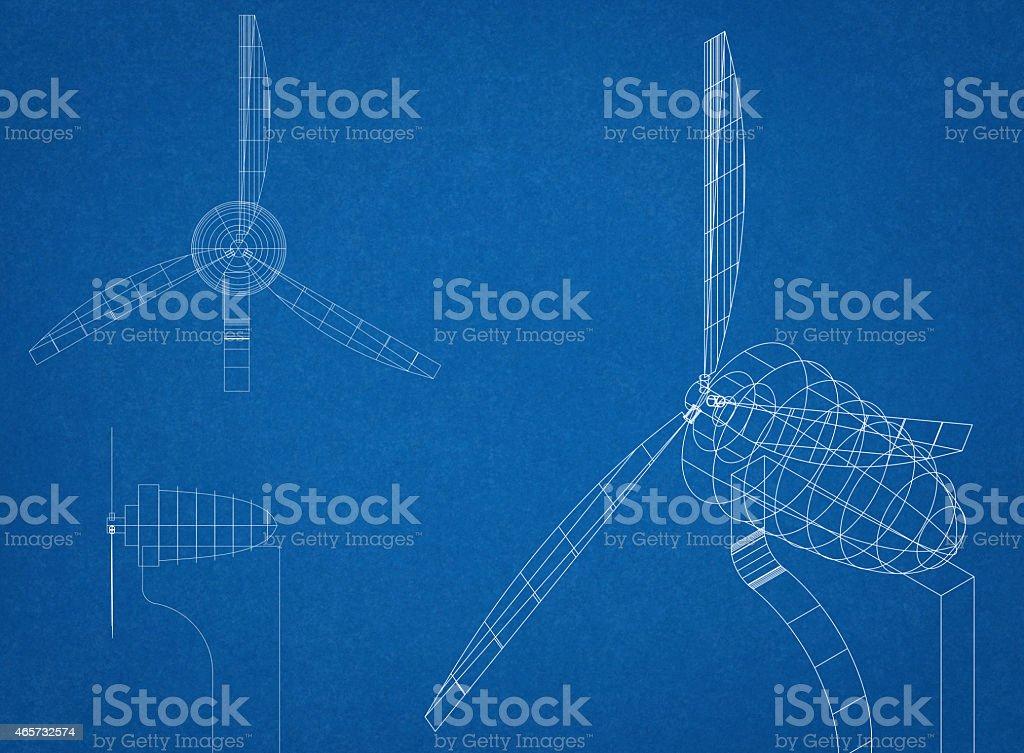 Wind Turbine Blueprint stock photo