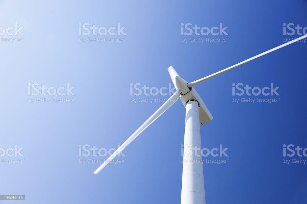 Wind turbine, Copy space. stock photo