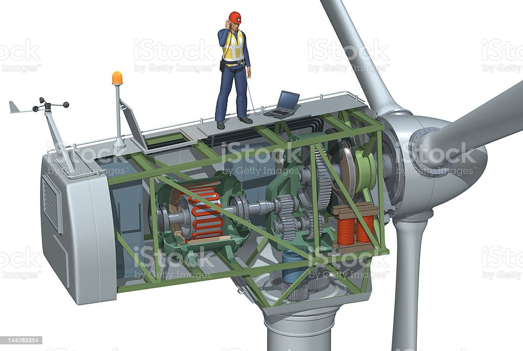 Wind Turbine Cutaway stock photo