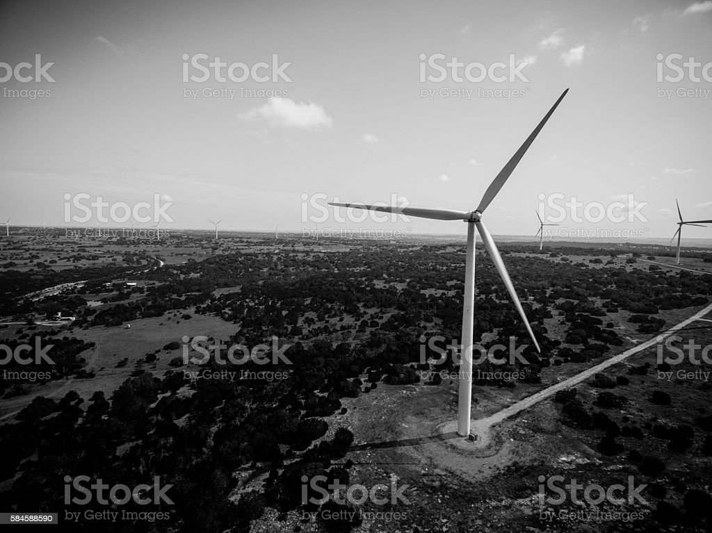 AERIAL: Wind Turbine Farm Goldthwaite Texas Monochrome stock photo