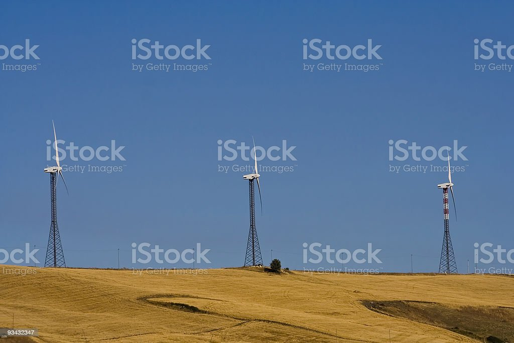 Wind turbine farm in Molise, Italy stock photo