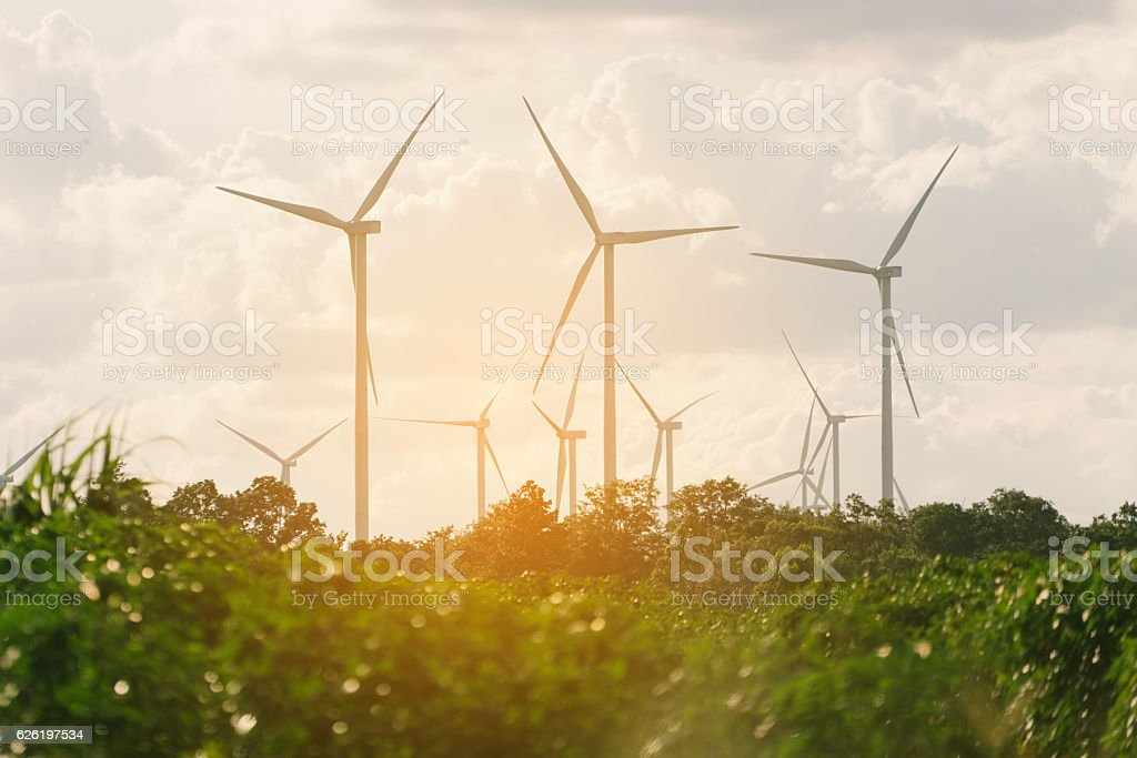 Wind turbine farm on hillside stock photo