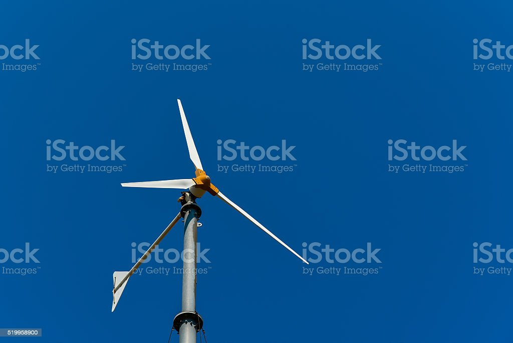 Wind turbine for electric power production. Wind power. stock photo