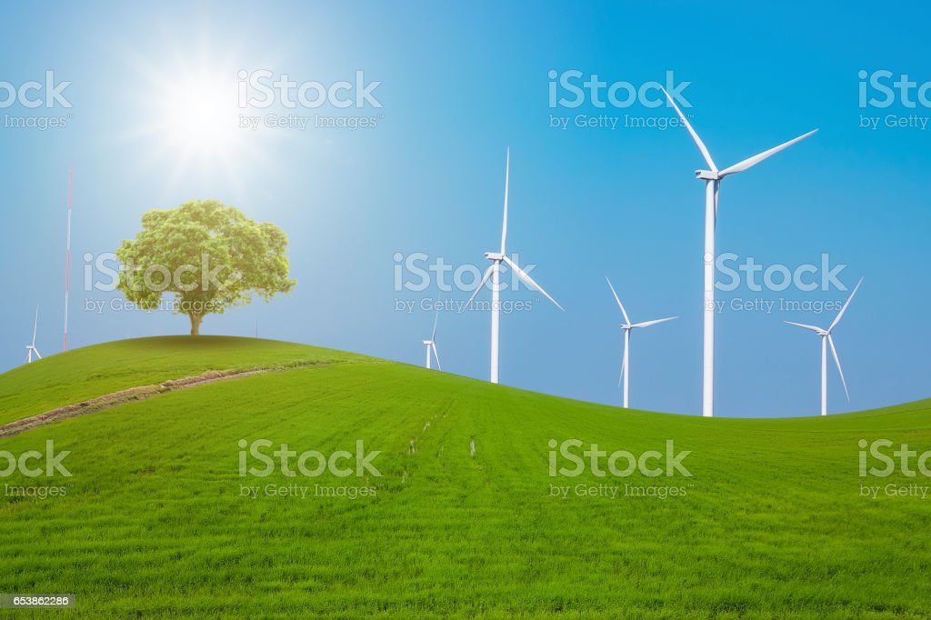 Wind turbine for electricity production stock photo