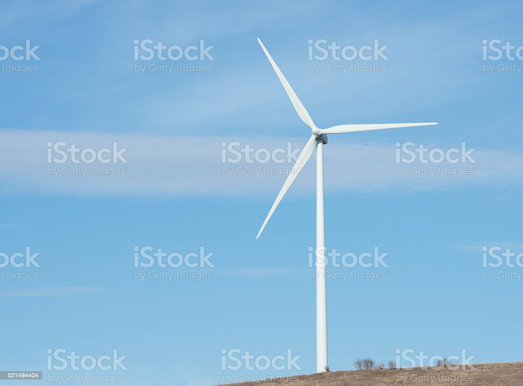 Wind turbine in a field in Upstate NY stock photo