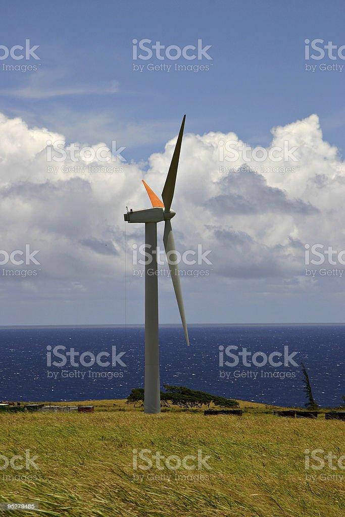 Wind Turbine In A Windmill Farm In Hawaii stock photo