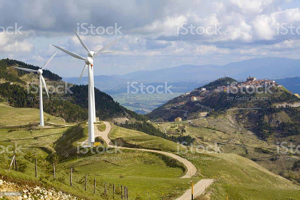 wind turbine in abruzzo stock photo