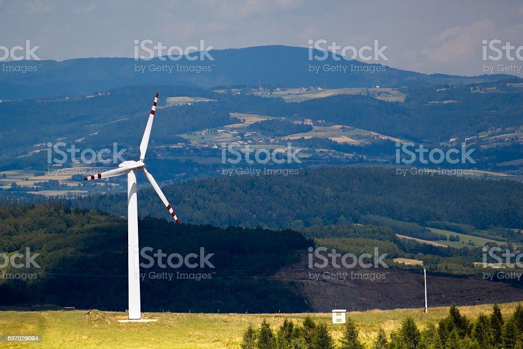 Wind Turbine in Beskid Mountains. Rytro, Poland. stock photo