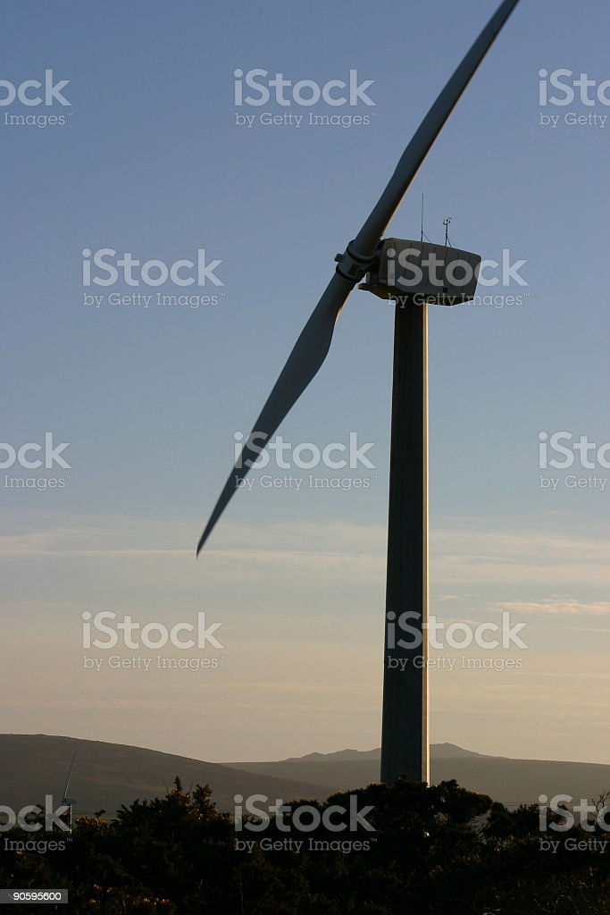 Wind Turbine in silhouette royalty-free stock photo
