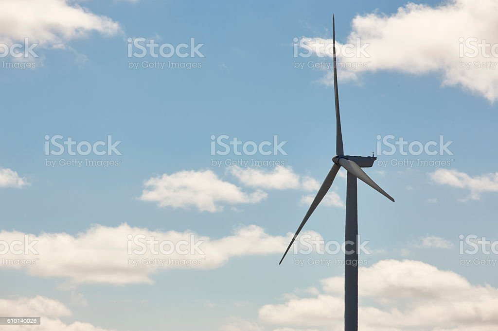 Wind turbine in the countryside. Clean alternative renewable ene stock photo
