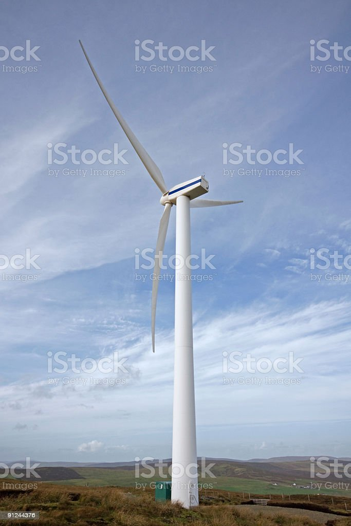 Wind turbine in the Shetland Islands royalty-free stock photo