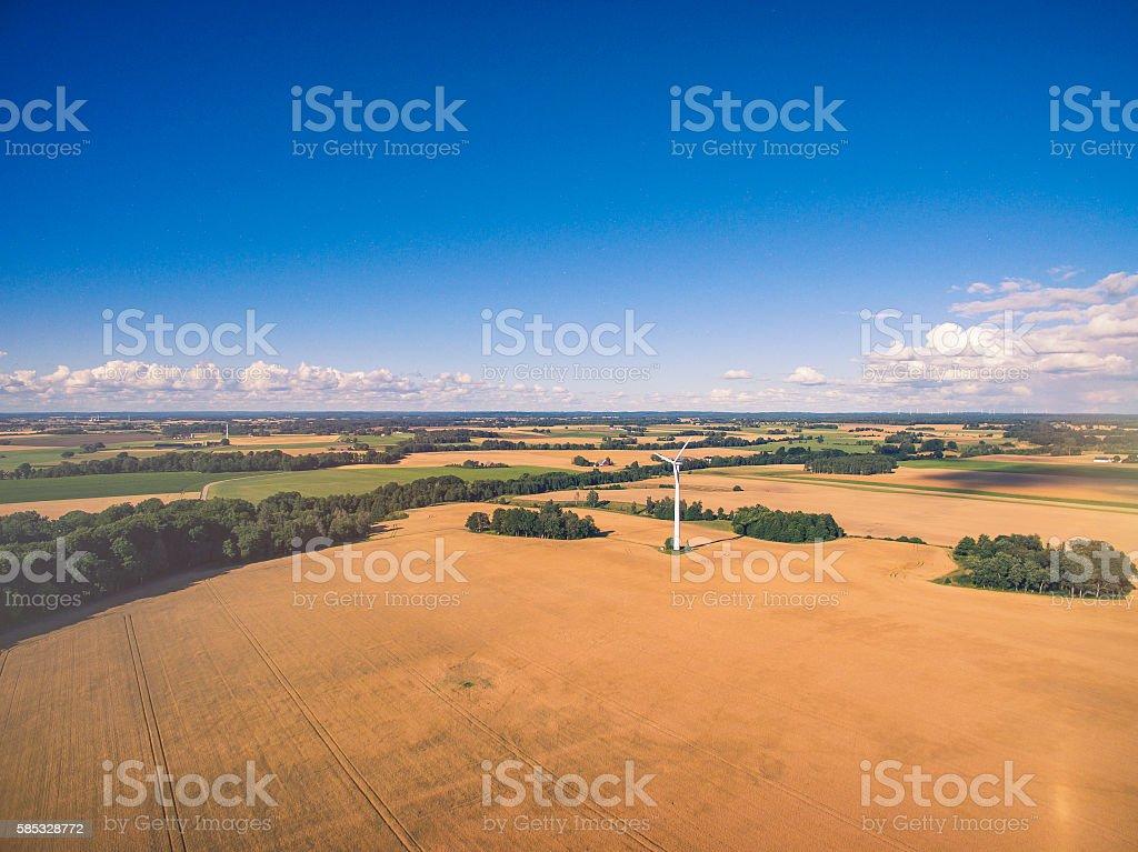 Wind Turbine in Wheat Field Farm stock photo