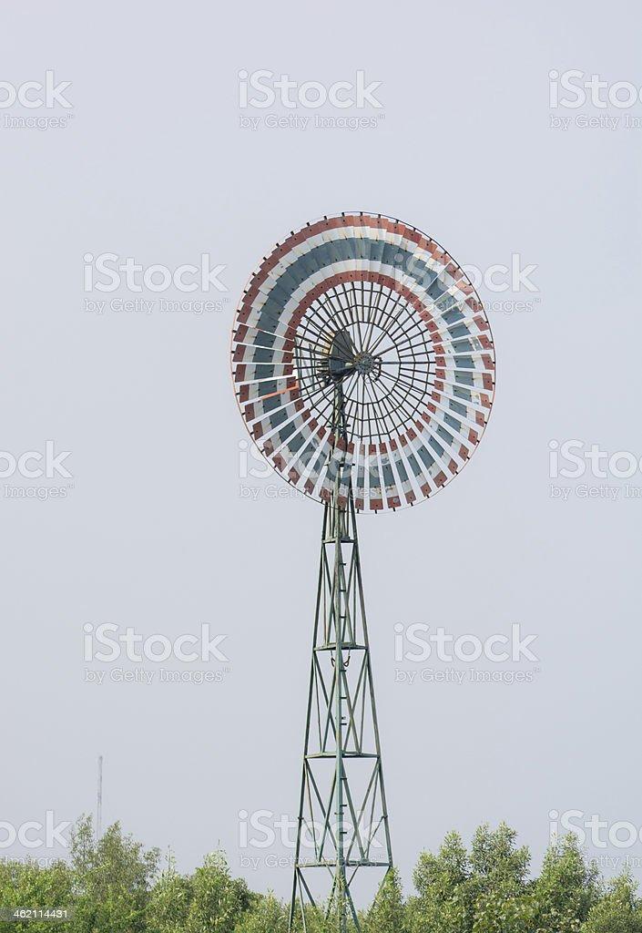 Wind turbine is a circle stock photo