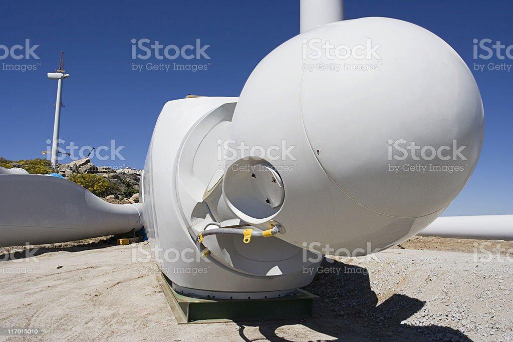 Wind turbine nacelle stock photo