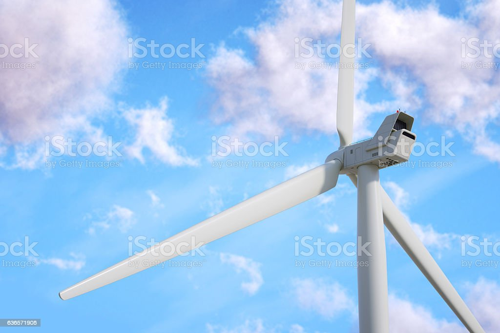 Wind turbine on sky background. stock photo
