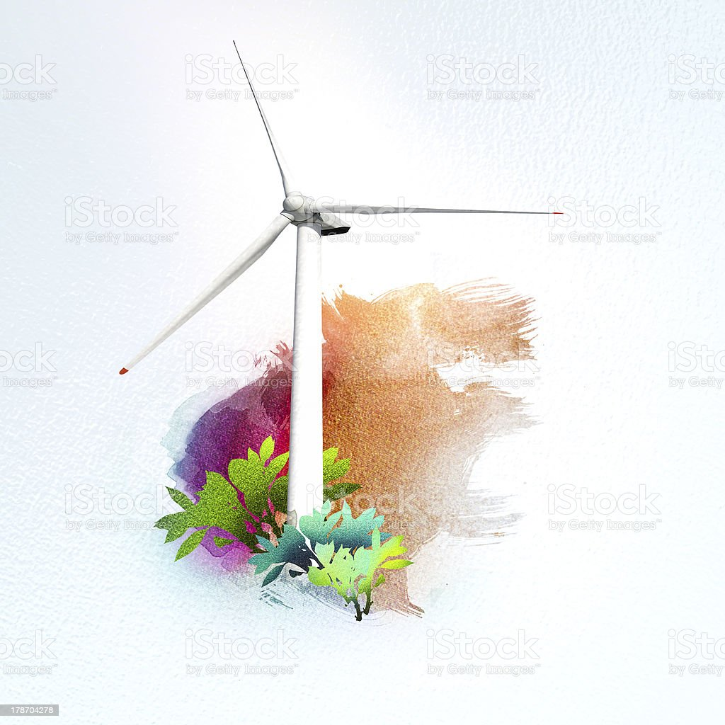 wind turbine on watercolor background royalty-free stock photo