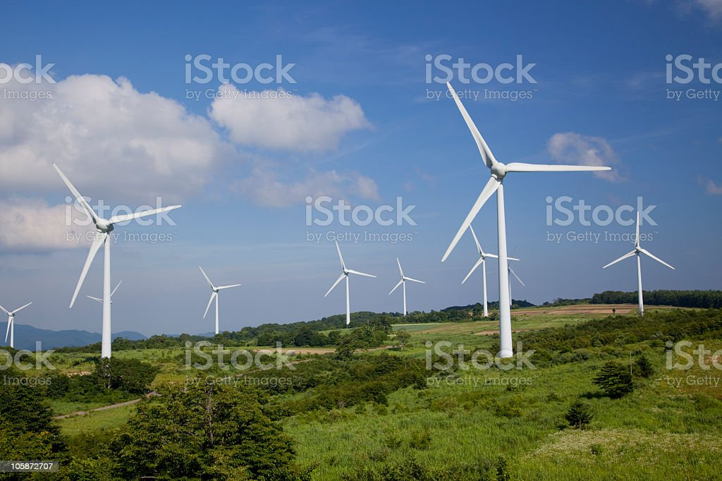 Wind turbine (Fukushima in japan) stock photo