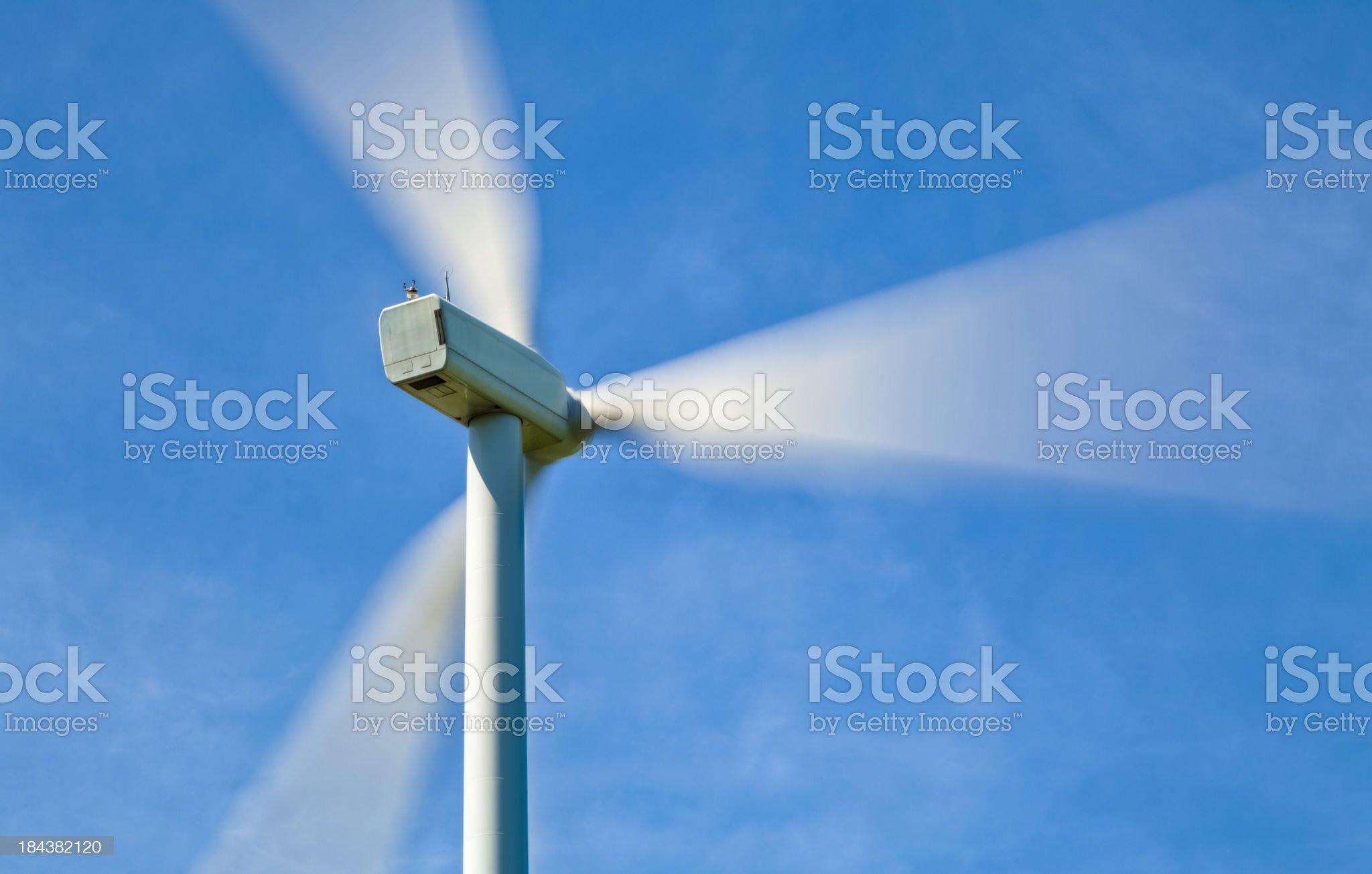 Wind Turbine Producing Energy - Motion Blur royalty-free stock photo
