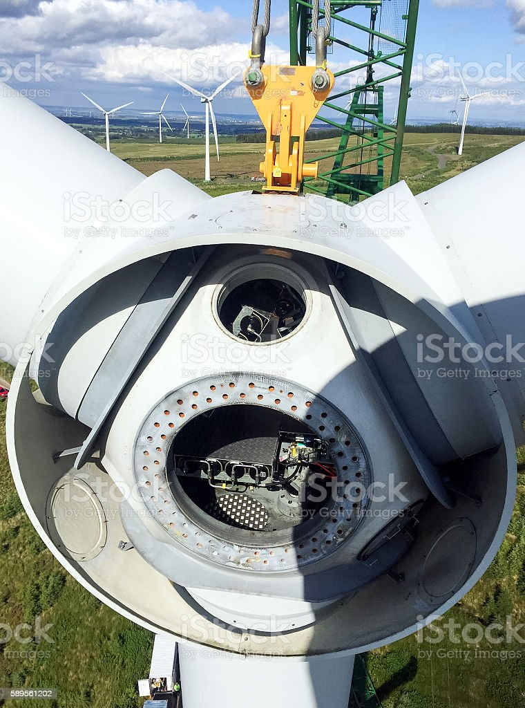 Wind Turbine Rotor Lift stock photo