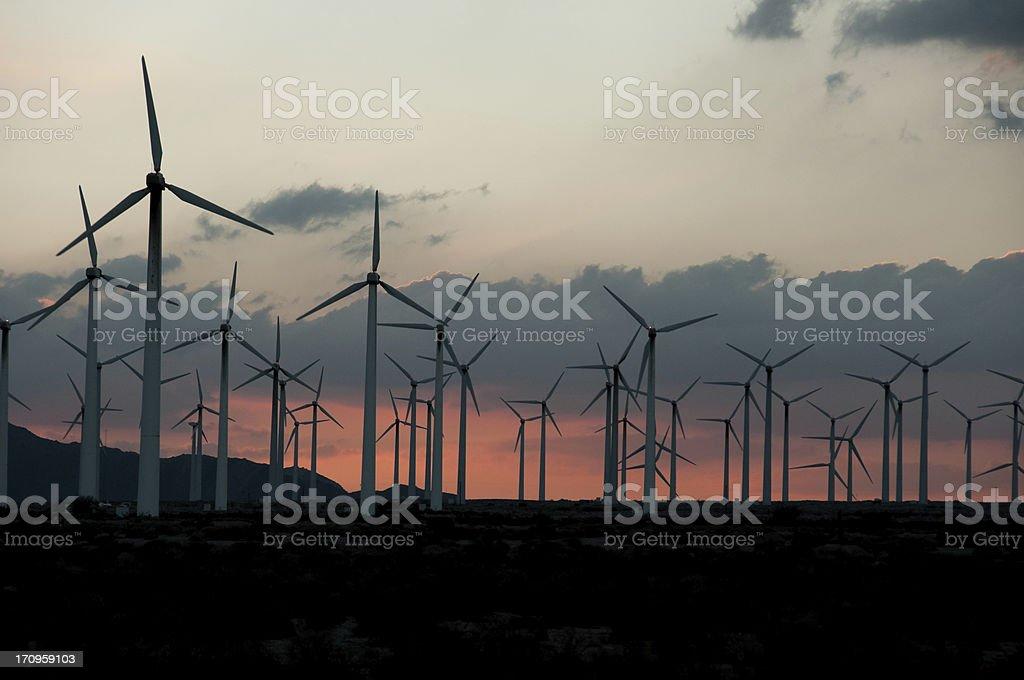 Wind Turbine Sunset royalty-free stock photo