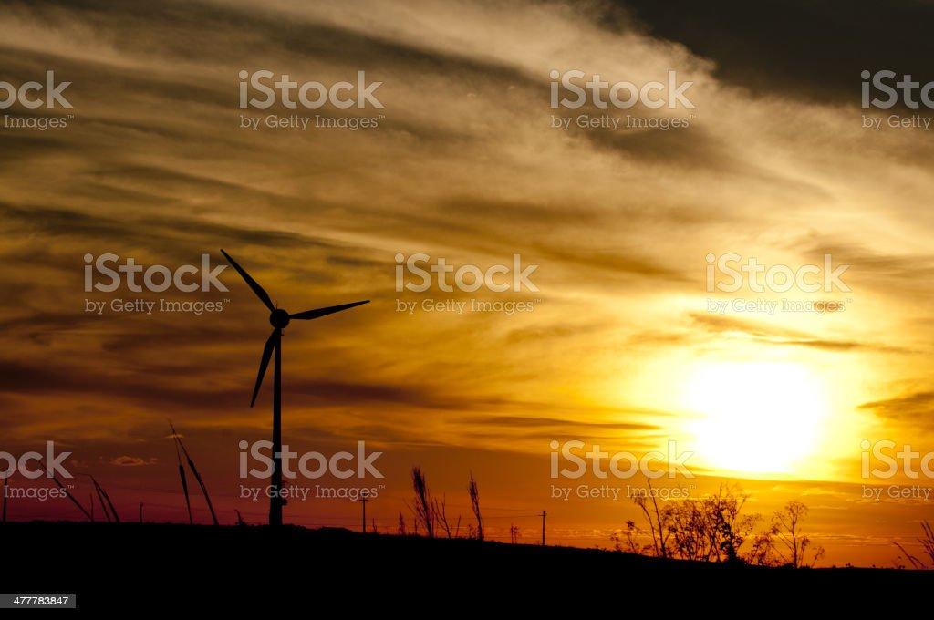 Wind Turbine - Sunset royalty-free stock photo