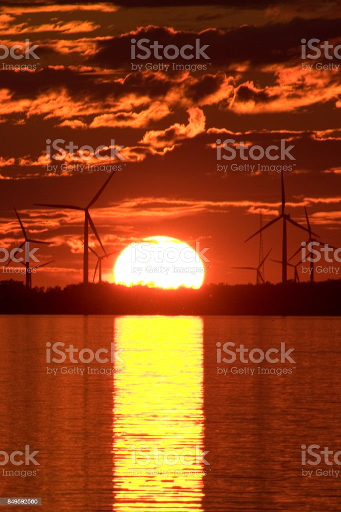 Wind Turbine & Sunset stock photo