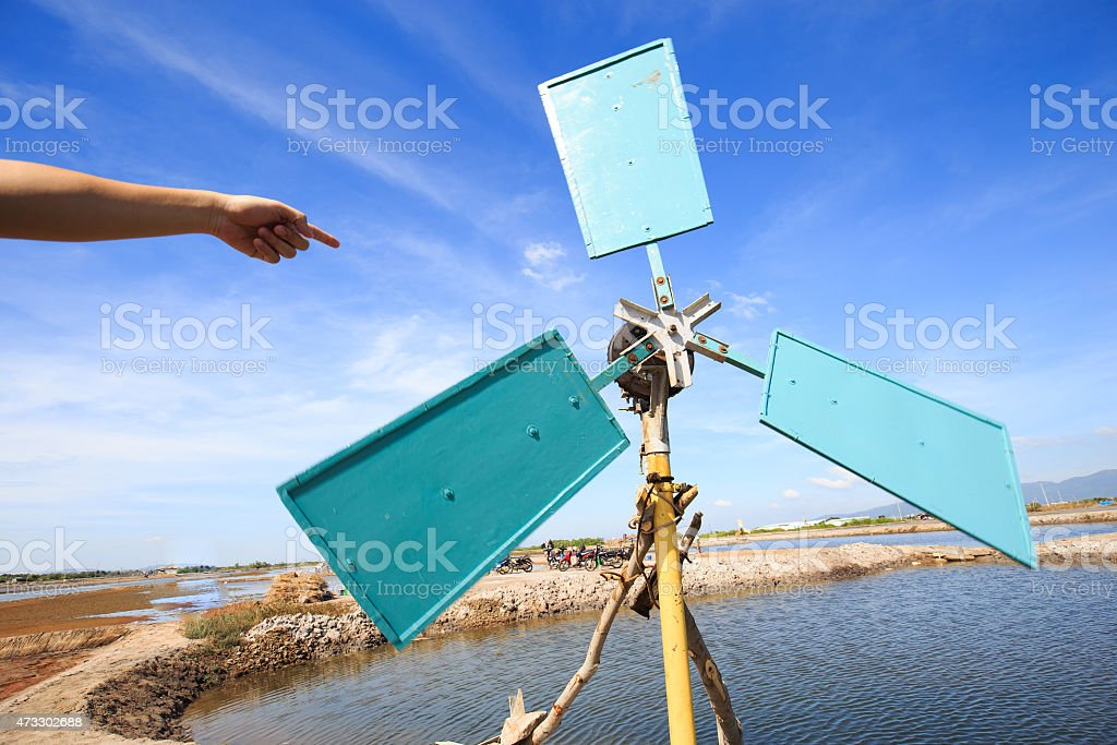 Wind turbine system in Long Hai,VietNam: wind-powered machinery royalty-free stock photo
