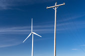 Wind Turbine with Electric Power Lines