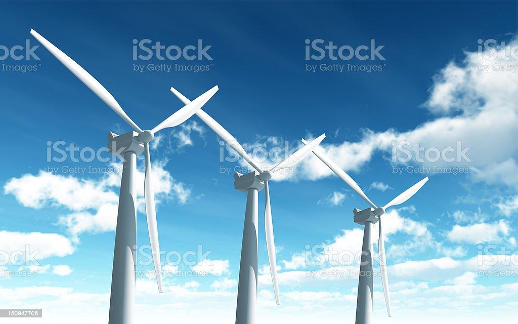 Wind Turbine with path royalty-free stock photo